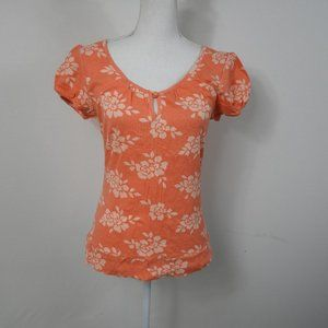 H61 Lena Coral Floral Top